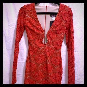 Long sleeves low cut dress